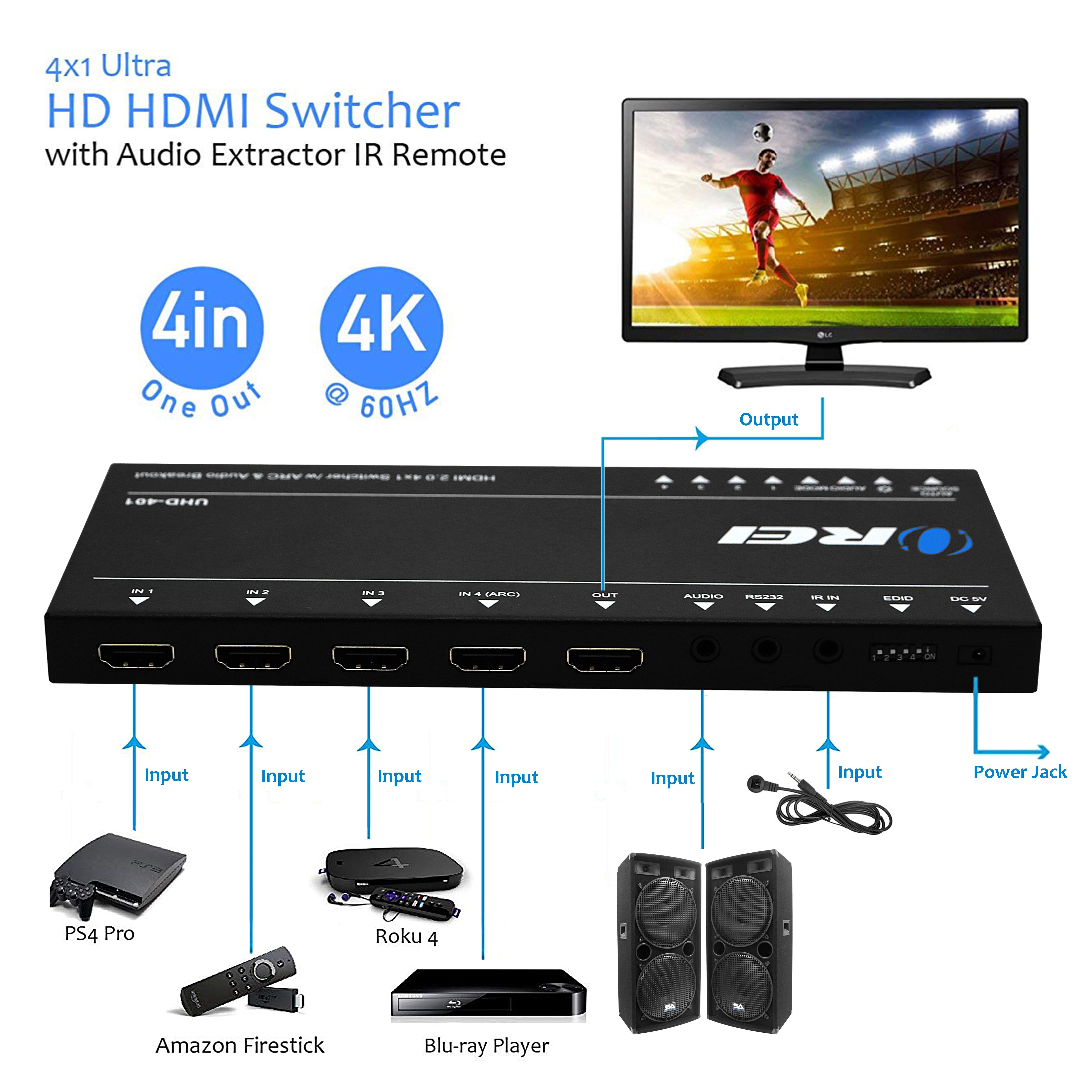 OREI Ultra HD HDMI 4 x 1 Switcher with ARC Out 18G Audio Extractor IR  Remote - Supports Upto 4K @ 60Hz - (4 Input, 1 Output) Switch, Hub, Port  for