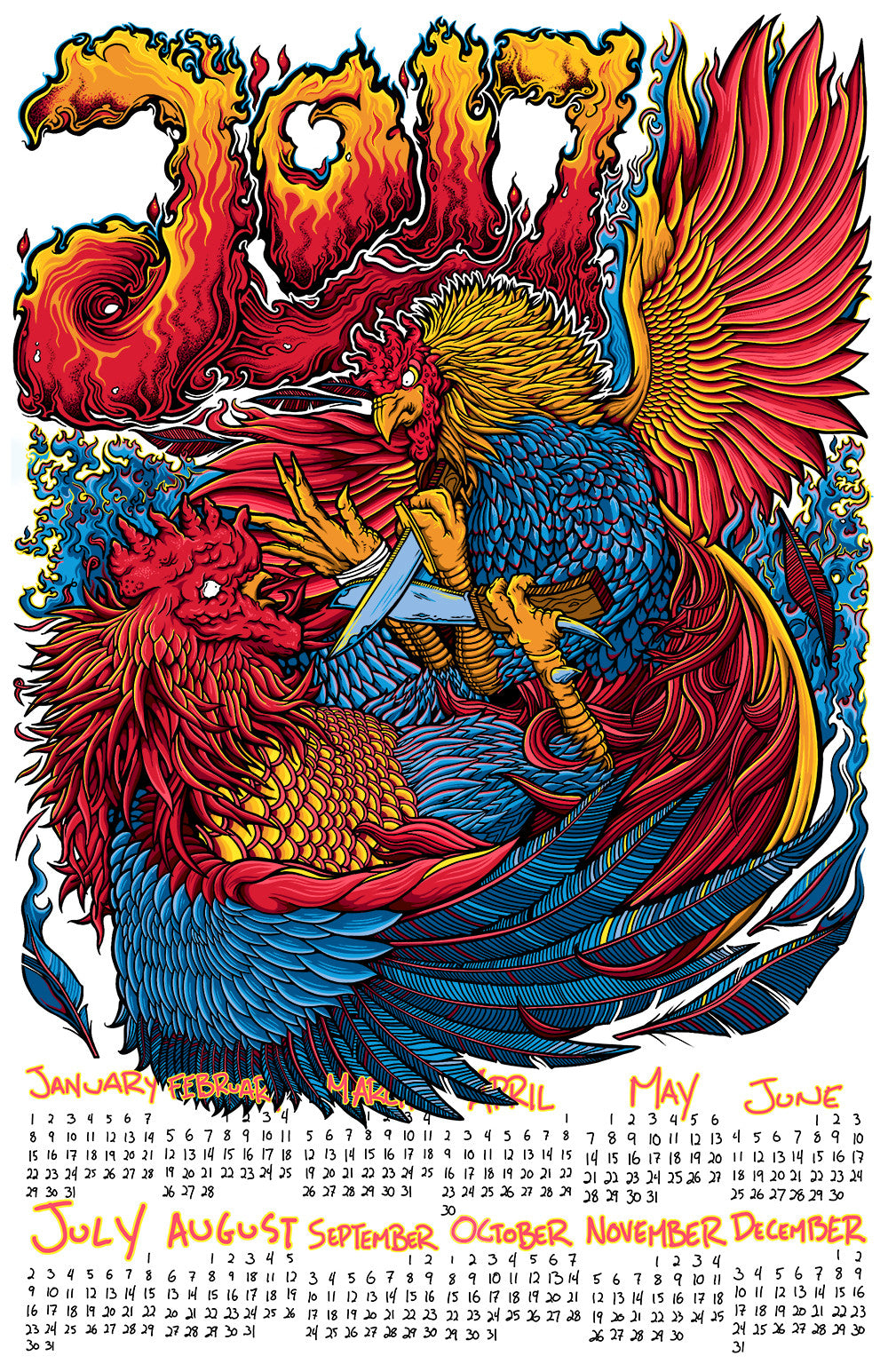 2017 Calendar - Year Of The Fire Rooster