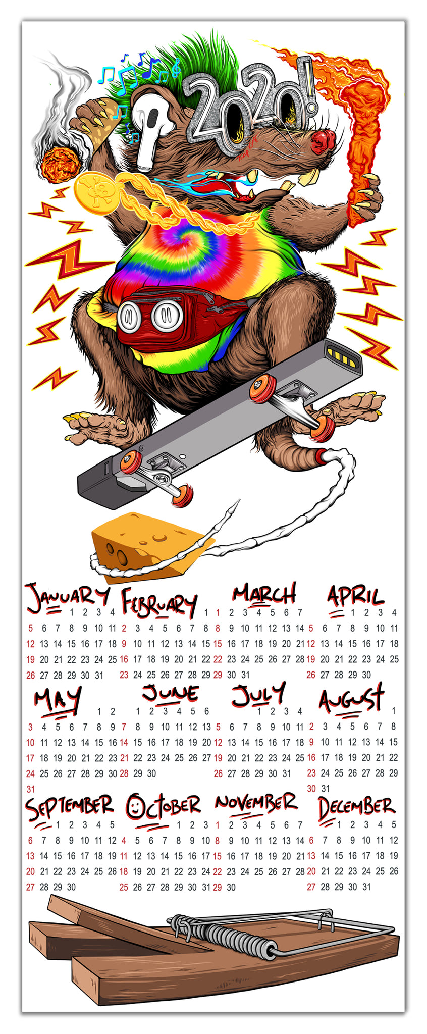2020 Calendar - Year Of The Rat