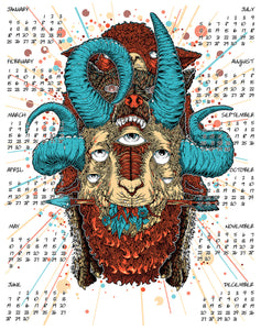 2015 Calendar - Year Of The Goat (blue variant)