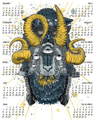 2015 Calendar - Year Of The Goat (yellow variant)