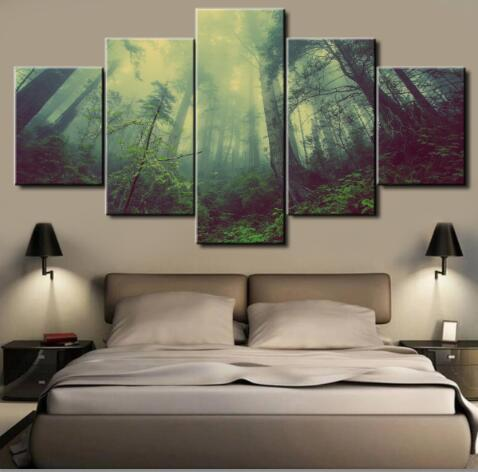 5 Panel Dark Forrest Canvas