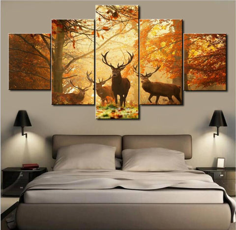 5 Panel Fall Deer Canvas