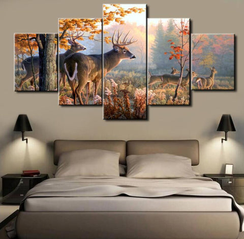5 Panel Deer Canvas