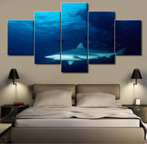 5 Panel Shark Canvas