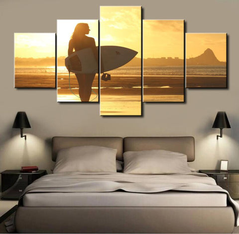 5 Panel Sunset Surfer Girl Canvas