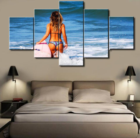 5 Panel Surfer Girl Canvas