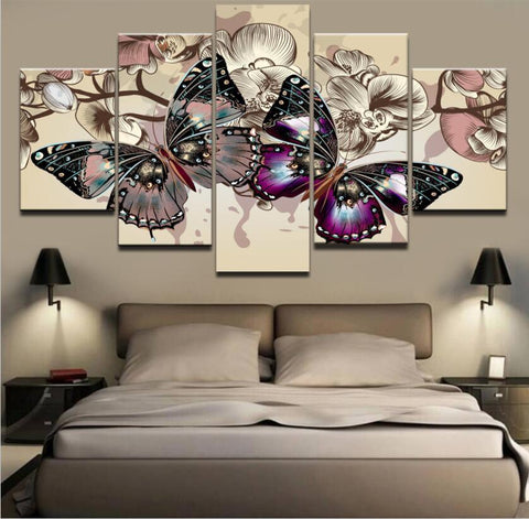 5 Panel Butterflies Canvas