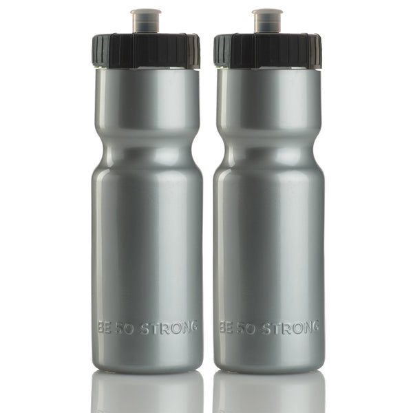 22 oz. Squeeze Water Bottle 2 Pack (Silver) - 50 Strong