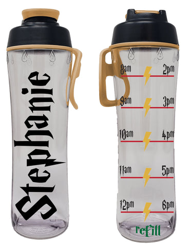 Personalized (Custom) Wizard World Water Hydration Tracker Water Bottle with Time Markers, Chug Lid & Carry Loop - 24oz.