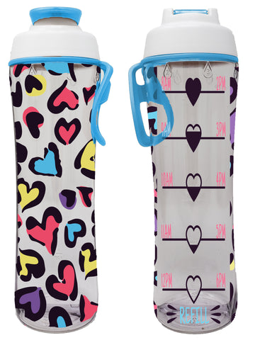 Leopard Hearts Kids Hydration Tracker Water Bottle with Time Markers