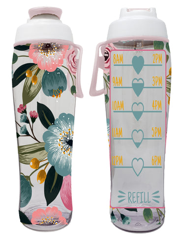 Flowers Hydration Tracker Water Bottle With Time Markers (30 oz.)