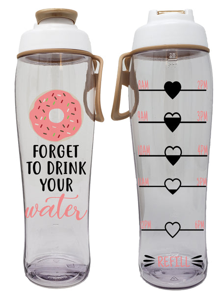 Donut Forget to Drink Your Water Hydration Tracker Water Bottle (30 oz.) - 50 Strong