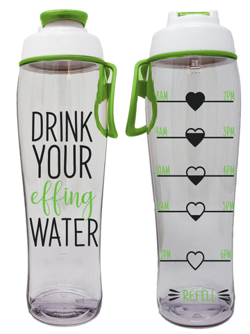 Effing Water Hydration Tracker Water Bottle With Time Markers