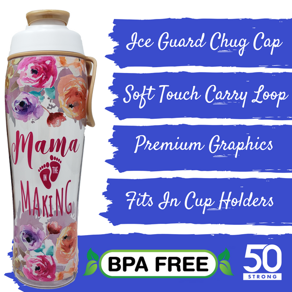 30 oz. Mama in the Making Pregnancy Water Bottle - 50 Strong