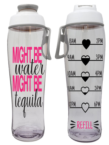 Might be Tequila Hydration Tracker Water Bottle With Time Markers, Chug Lid & Carry Loop  (30 oz.)