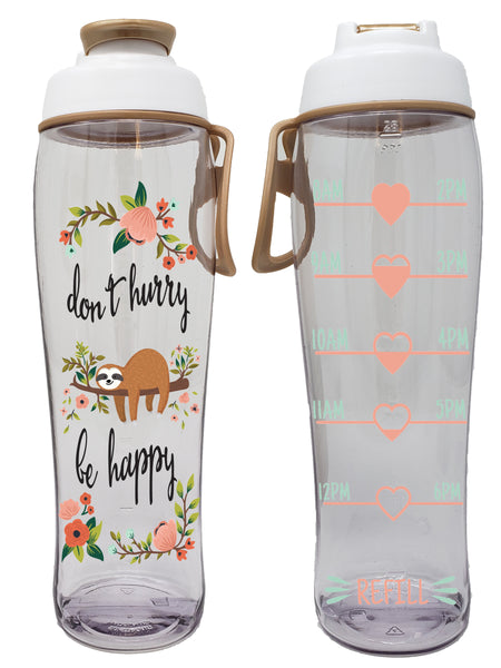Don't Hurry Be Happy Sloth Hydration Tracker Water Bottle (30 oz.)