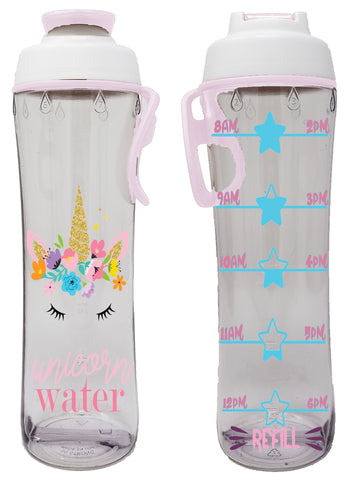 Unicorn Water Kids Hydration Tracker Water Bottle with Time Markers