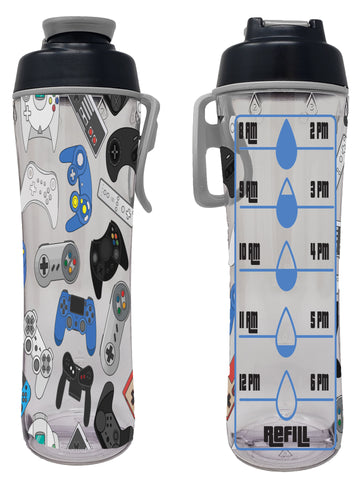 Video Games Hydration Tracker Kids Water Bottle with Time Markers - 24oz.