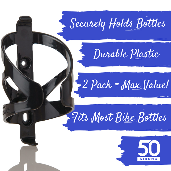 Bike Water Bottle + Cage Value Pack (Clear) - 50 Strong