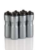 Squirt Water Bottle with One-Way Valve -6  Pack (Silver/Black) - 50 Strong