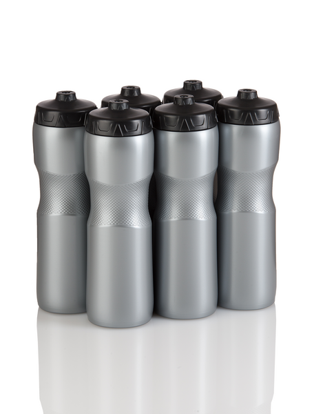 Squirt Water Bottle with One-Way Valve Team Pack (Silver/Black) - 50 Strong