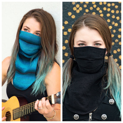 Scarf Mask 2 Pack (Adult), Singing the Blues/Ninja