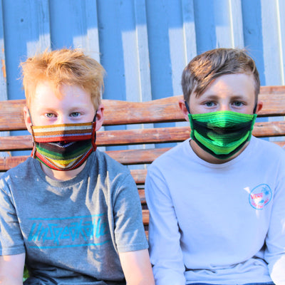 Kids Pleated Mask 4 Pack, Earth Tones