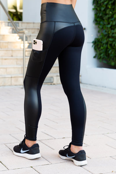 "Santa Monica High-Waist 7/8 pocket Legging - Black/Black ""Leather"""