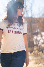Legend Ringer Tee, Cream/Burgundy
