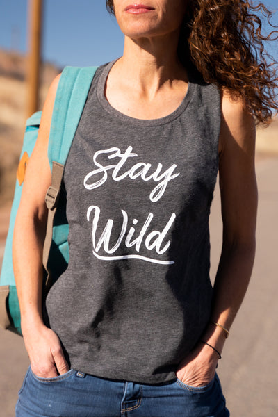 Stay Wild Muscle Tee, Charcoal Heather