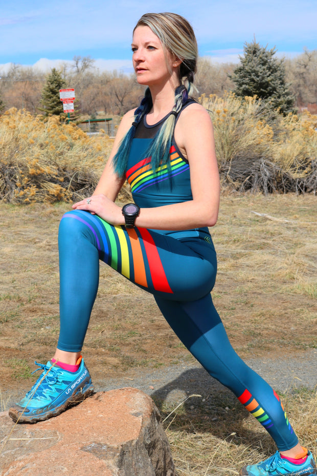 Vintage Rainbow Unity Leggings - Dark Storm