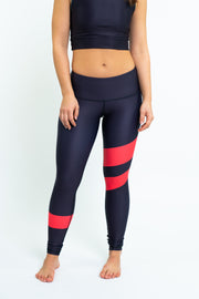 Racing Stripes Leggings - Black/Red Stripes