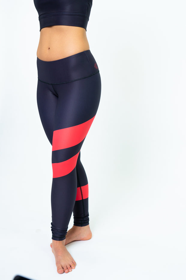 Racing Stripes Leggings, Black/Red Stripes