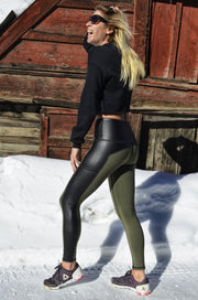 "Santa Monica High-Waist 7/8 Pocket Legging - Olive/Black ""Leather"""