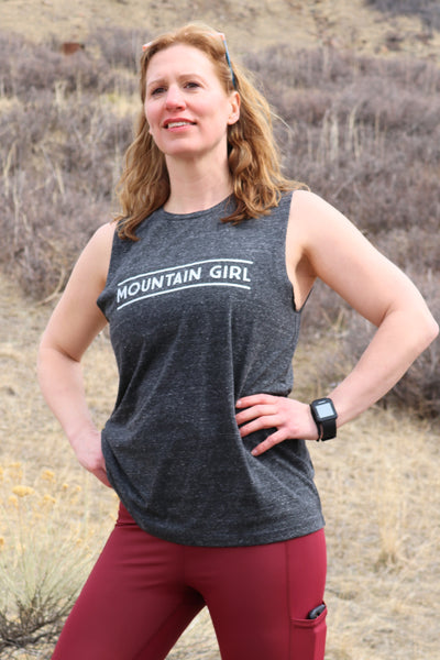 Mountain Girl Muscle Tee - Charcoal