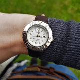 Wrist Shot of Womens Dufont White Dial Watch with Brown Leather Strap
