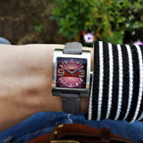 Wrist Shot of Womens Fossil Stainless Steel  Watch with Grey Leather Strap