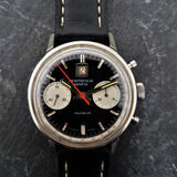 Gents Panda Chronograph Vintage Watch with Black Leather Strap