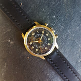 Black Mens Webster Sport Telemeter Watch with Hand-made Leather Strap