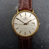 A beautiful yet classic vintage mens watch by Marvin with a supple brown leather strap