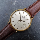 A classic vintage mens watch by Marvin with the sough after Marvin Revue stamp on the dial, teamed with a supple Italian brown leather strap