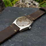 Dark Brown Handcrafted Strap with Olive Green Stitching from a Certina Vintage Mens Watch