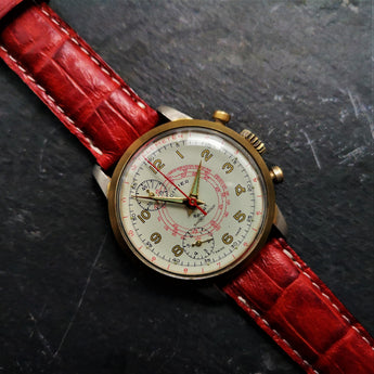 Cimier Sport Mens Mechanical Chronograph Watch from 1950s with Red Leather Crocodile Strap