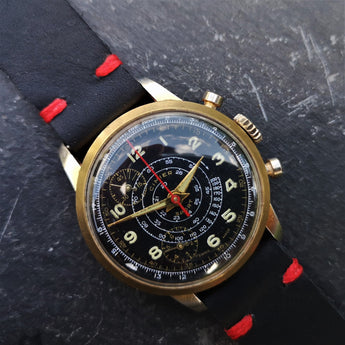 Mens Vintage 1950s Cimier Sport Gold Mechanical Chronograph with Black Leather Strap with Red Stitching