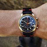 Watch shot of Vintage 1950s Cimier Sport Gold Mechanical Chronograph with Black Leather Strap with Red Stitching