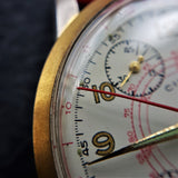 Macro Shot of Cimier Sport Mens 1950s Vintage Chronograph Watch