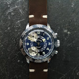 Vintage Mens Chronograph Cimier Watch with Brown Handmade Strap - Dr Who Watch