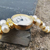Vintage Women's Lucoral Gold Plated Quartz Watch With A Pearl Bracelet