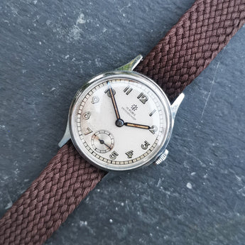 Vintage Gents Boden Edelstahl Mechanical Watch // Perlon Strap // Second Subdial // Hand Winding Watch